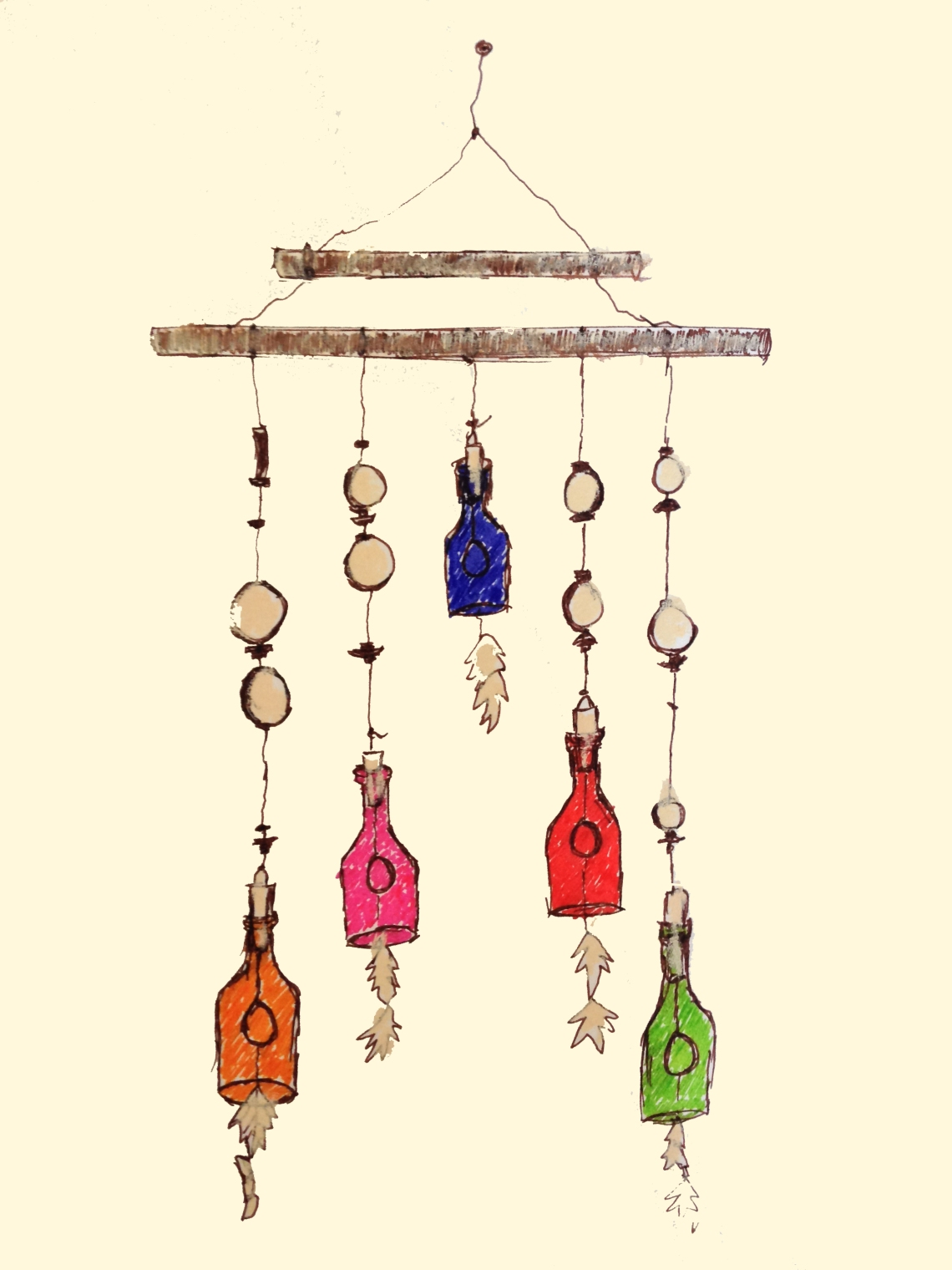glass bottles and wooden pieces as wall hanging at home